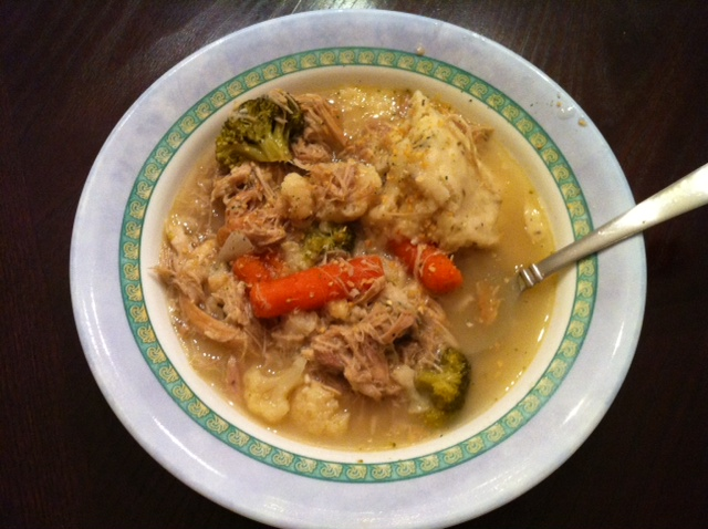 Turkey soup with rosemary dumplings