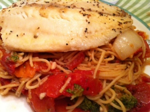 Mediterranean Tilapia with Pasta & Vegetables