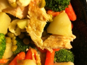 fillets and mixed vegetables
