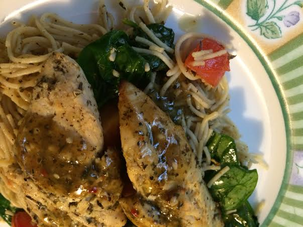 Angel hair pasta with lemon basil chicken