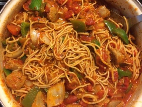 Whole Wheat Spaghetti w/Italian-style Turkey Sausage